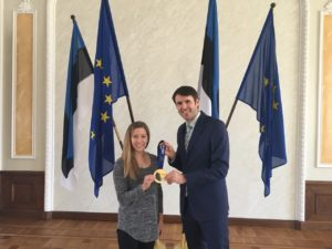 Kaitlyn Lawes and Rainer Vakra at Estonian Parliament.